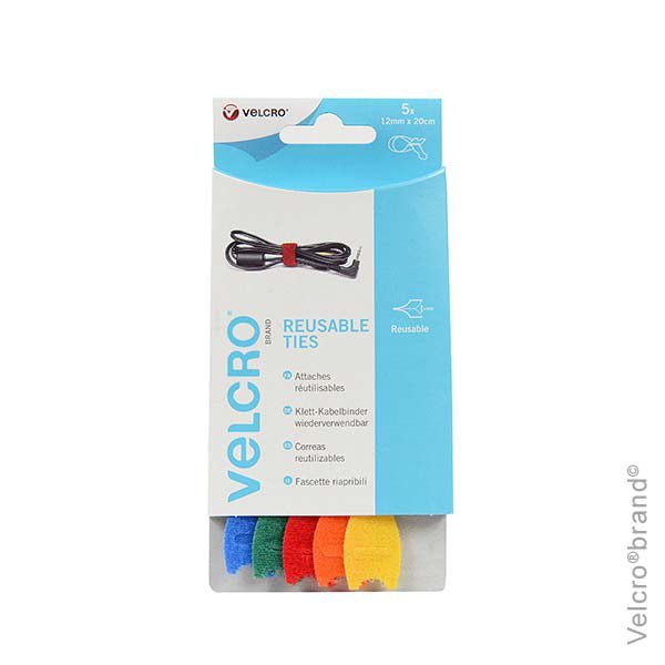 T0947-VELCRO-brand-Cable-Manager-Ties-12mm-x-20cms-x-5-ties-Multi